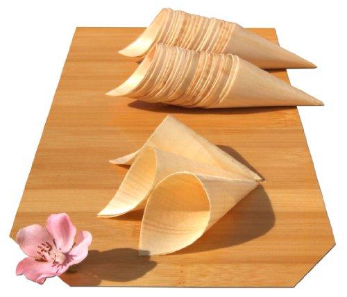 GOTO SMALL - Coni in Legno di Bambù MINI x200 per feste, snack, stuzzichini, tartine 85X30mm - PICCOLO