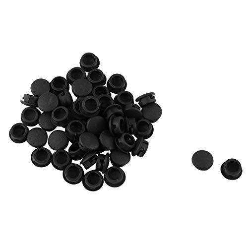 sourcingmap Lot de 50 Baguettes à Relier en Plastique 8 mm Dia de Type Bouchon Capuchons Noir