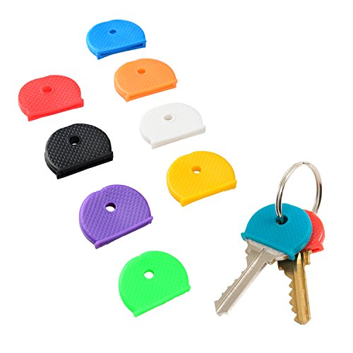 Uniclife Key Cap Covers Rings, 32 Pack, 8 Assorted Colors Key Identifier Tag Covers