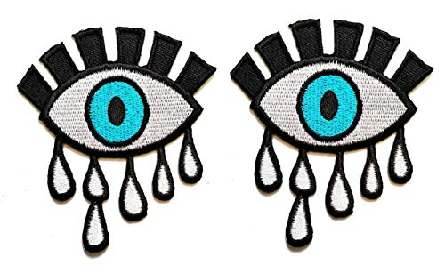 PP Patch Blue Eyes Crying Eyes Beautiful Lady Eyes Cartoon Children Kids Embroidered Iron Patch Sew On Patch Clothes Bag T-Shirt Jeans Biker Badge Applique