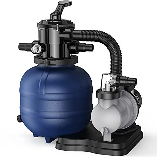 """BLUBERY 13"""" Sand Filter with 1/3HP Prefilter Pump System, Handy 7-Way Valve for Above Ground Pools with Pool Pump, 115V, 23FT Cord for Easy Installation, GSF01A"""