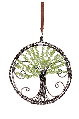 CrystalTears Peridot Tree Of Life Hanging Ornament Natural Reiki Healing Crystal Gemstone Wall Car Hanging Window Ornament for Home Office Decoration Meditation Good Luck