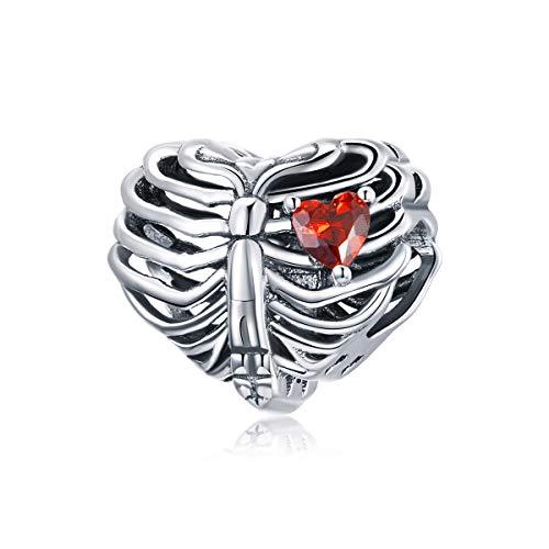 Plata esterlina Pluma colorida Cupido Flecha Mariposa Corazón Árbol de la vida Copa de vino Búho Encantos de animales para adaptarse a Pandöra Pulsera Collar para mujeres niñas (Encanto del corazón)