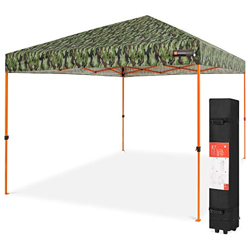 Best Choice Products 10x10ft 1-Person Setup Pop Up Canopy Tent Instant Portable Shelter w/ 1-Button Push, Straight Legs, Wheeled Carry Case, Stakes - Camo
