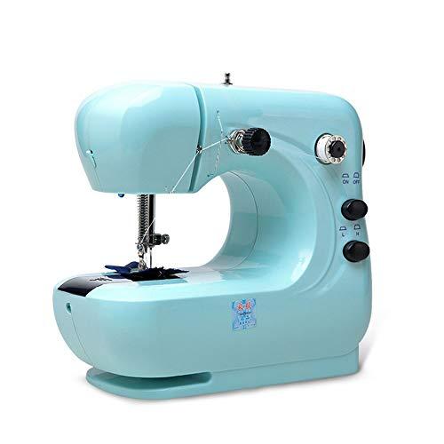 Máquinas De Coser Con Luz LED Y Escritorio De Expansión Cortador De Hilo Ajuste De Velocidad Portátil Máquina De Coser Eléctrica For Tela, Ropa O Tela De Niños Mini máquina de coser ( Color : Azul )