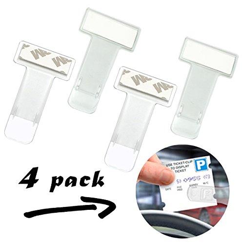 Aurorali – Auto-Parkzettel-Windschutzscheiben-Halterung, Clip, 4 Stück, Kunststoff, für Auto, Van, Wohnwagen und Windschutzscheibe