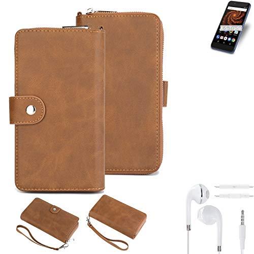 K-S-Trade 2in1 Handyhülle Für Allview X4 Soul Mini S + Kopfhörer Schutzhülle und Portemonnee Schutzhülle Tasche Handytasche Hülle Etui Geldbörse Wallet Bookstyle Hülle Braun (1x)
