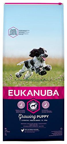 EUKANUBA Cachorro de Raza Mediana en Crecimiento rico en pollo fresco [12 kg]