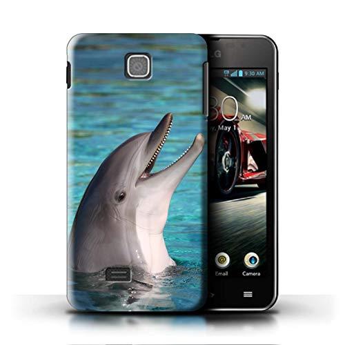 Stuff4 Hülle/Case für LG Optimus F5/P875 / Nettes Lachen Muster/Delfine Meereslebens Kollektion