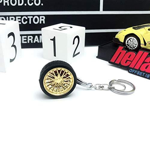 DishyKooker Felgen BBS Reifen Rad Metall Keychain Auto Rad Keychain Schlüsselring Gold 10 cm * 3,5 cm AutoAccessory