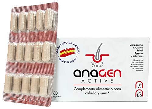 Anagen Active - tratamiento anti-caída de cabello | vitamina pelo con Bitoina, Zinc, vitaminas, Selenio, L-Cistina, Saw palmeto, Astaxantina | Crecepelo | crecimiento en hombres y mujeres (1 Caja)