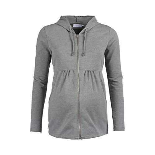 2HEARTS Umstands-Jacke We Love Basics/Umstandsmode Damen/Sweatshirt-Jacke mit Kapuze/grau