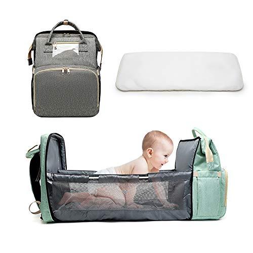 Baby Bett Wickeltasche Rucksack 3 in 1 Tragbare Multifunktions Stubenwagen Windel Wickelstation Mumien Tasche Rucksack Reise Windeltasche für Babys von 0-12 Monaten