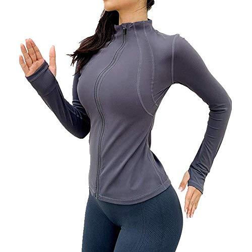 U/A - Chaqueta de yoga ajustada para mujer, secado rápido, manga larga, con cremallera, chaqueta de gimnasio. Gris gris S