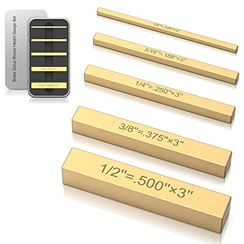 Brass Height Gauges Set, Saw Height Gauge-5 Piece Laser-engraved Size Marking for Router and Table Saw Accessories