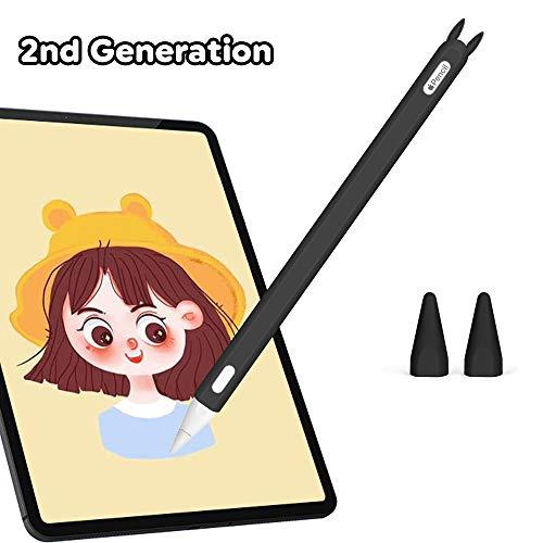 Hydream Funda de Silicona para Apple Pencil 2ª Generación, Funda Ultra Delgada Protectora Case Cover Antideslizante Accesorios para iPad Pencil, con 2 Cubiertas de Punta Protectora (Negro)