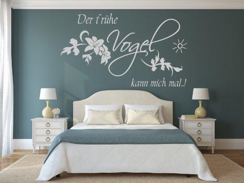 XL Wandtattoo fürs Schlafzimmer 68127-100x58 cm, Spruch ~ Der frühe Vogel kann mich mal ~ Blumenranke ~ Wandaufkleber Aufkleber für die Wand, Tapetensticker aus Markenfolie, 32 Farben wählbar