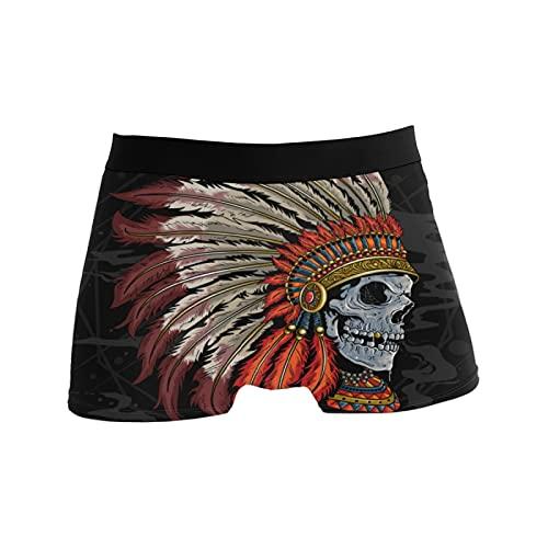 NO Herren Boxershorts, Unterwäsche, atmungsaktiv, dehnbar, Badehose, Geschenk für Jugendliche, Jungen, mit Totenkopf-Motiv, indischer Hut, Boho-Muster - - Medium