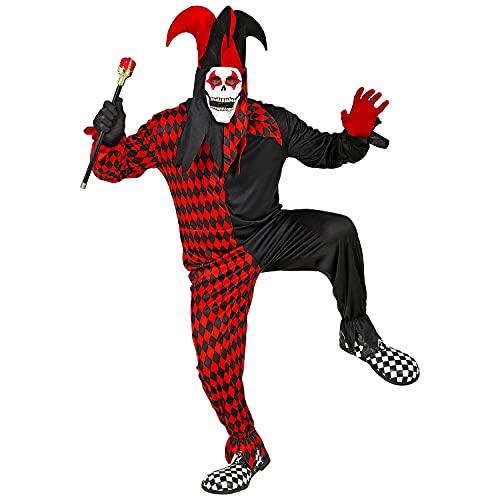 WIDMANN 29324 29324 - Disfraz de arlequín malvado, mono, máscara con capucha y sombrero, payaso, Joker, terror, Halloween, hombre, multicolor, XL