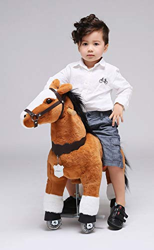 UFREE Horse Great Present for Children Action Pony Toy, Ride on for boys aged 3 to 6 (Brown)