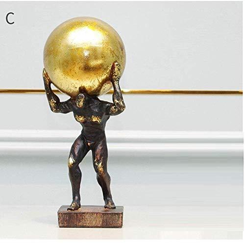 Living Equipment Figurines Figurines Estatuillas de estatuillas Esculturas de estatuillas Marrón Gimnasia Pelota de Empuje Figura Deportiva Estatua Escultura artística Estatuilla de Hércules Resina