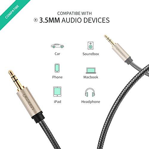 UGREENオーディオケーブルAUX3.5mmステレオミニプラグauxケーブル車androidiPhoneイヤホンスピーカーステレオケーブルHiFi高音質高耐久性ナイロン編組み金メッキコネクタ0.5m