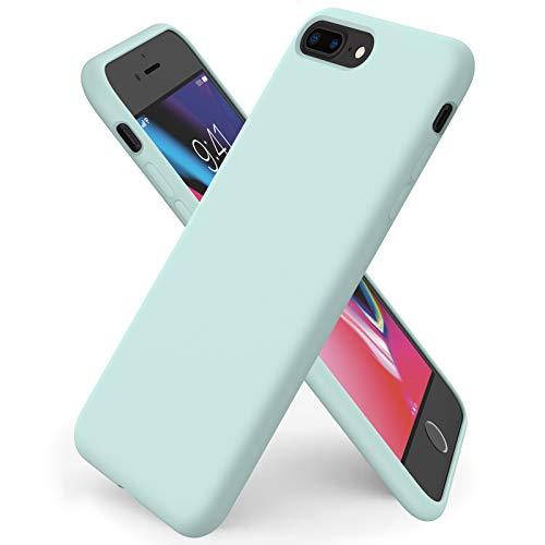 ORNARTO Coque iPhone 8 Plus en Silicone, iPhone 7 Plus Protection Complète du Corps,Case Fine en Caoutchouc Liquid Silicone Protection Anti-Choc Housse Étui 5,5 -Menthe Verte