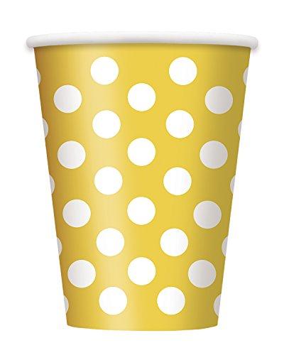 Unique Party - 37476 - Paque de 6 Gobelets - Carton à Pois - 355 ml - Jaune