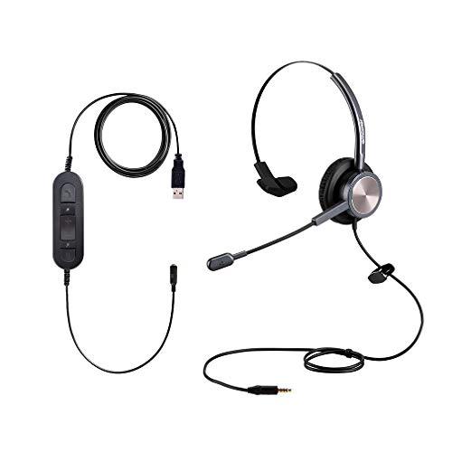 Auriculares de ordenador con micrófono de cancelación de ruido con conector de 3,5 mm para iPhone, Samsung Galaxy, Huawei, HTC, LG, ZTE BlackBerry Mi y iPad, Tablet portátil, Mac, Skype Teams
