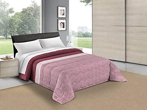 HomeLife Tagesdecke für französisches Bett, gesteppt, 100 g, 220 x 260 cm, für Doppelbett, Sommer, Frühling, Motiv: Mikrofaser, leicht, Französisch (Bordeaux)