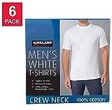 Kirkland Signature Men's Crew Neck T-Shirts, White, 6 Pack - Medium