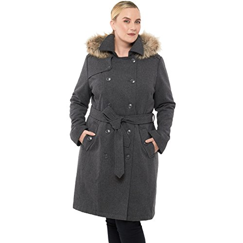 Alpine Swiss Womens Wool Parka Jacket Removable Fur Trim Hood Belted Trench Coat Gry 1XL Gray