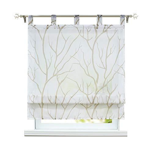 ESLIR Raffrollo mit Schlaufen Gardinen Küche Raffgardinen Transparent Schlaufenrollo Modern Vorhänge Weiß-Braun BxH 100x140cm 1 Stück