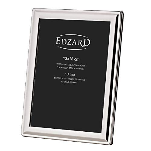 EDZARD Bilderrahmen Terni für Foto 13 x 18 cm, edel versilbert, anlaufgeschützt, mit Samtrücken, inkl. 2 Aufhängern, Fotorahmen zum Stellen und Hängen