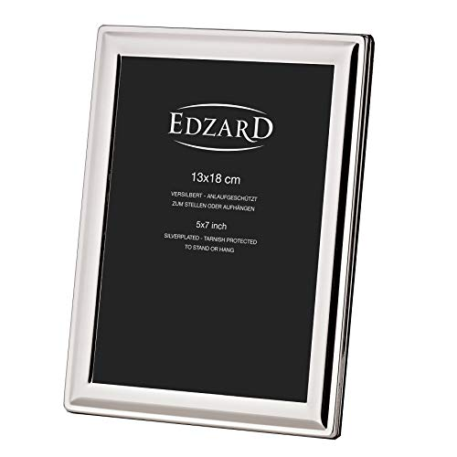 EDZARD Fotorahmen Terni für Foto 13 x 18 cm, edel versilbert, anlaufgeschützt, inkl. 2 Aufhänger