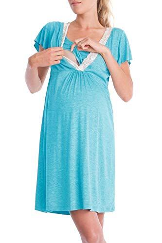 ADELINA Vrouwen Zwangerschap Nachtjapon Moederschap Jurk Slapende Borstvoeding Korte Mouw V Modieuze Completi Hals Verpleging Nachtjapon Pajama Nachtjapon