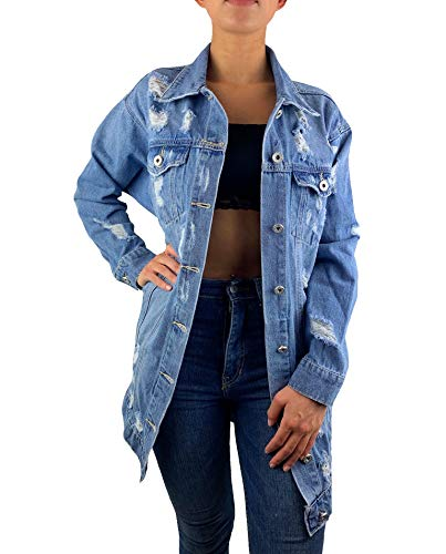 Worldclassca Damen Jeansjacke Oversized MIT Rissen Jeans HELL BLAU Denim Jacket Vintage LANG Used WASH ÜBERGANGSJACKE Blogger DENIMWEAR Parka Denim Destroyed Mantel Cut Out Look S-XL (S, Blau-x132-1)