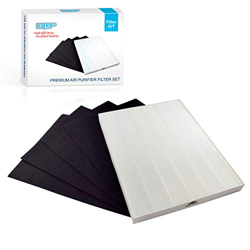 HQRP Air Filter Set (True HEPA + 4 Carbon) works with Winix 9000, 9500, 5000, 5000B, WAC9000, WAC5000 Ultimate Pet PlasmaWave, Winix 115115 Size 21 Filter A Replacement