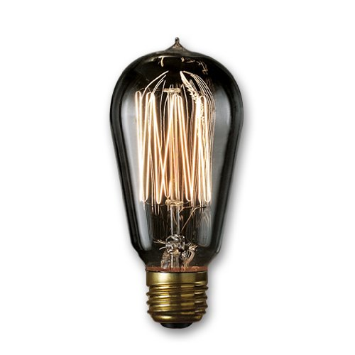 Bulbrite NOS40-1910/SMK 40-Watt Nostalgic Edison ST18 Bulb, Vintage Thread Filament, Medium Base, Smoke