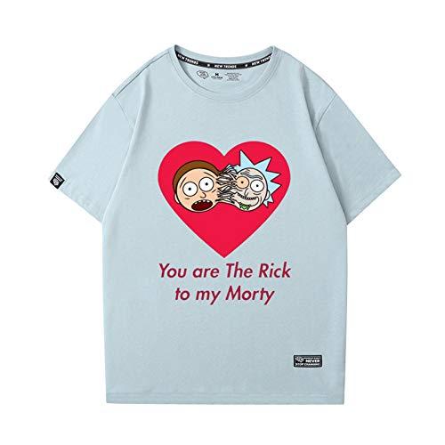 GRTBNH Camiseta de Manga Corta con Estampado de Rick y Morty de Dibujos Animados para Hombres y Mujeres con Cuello Redondo,Style 2,S