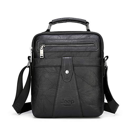 JEEP BULUO Leather Shoulder Messenger Bag For Men Crossbody Handbag Daypack For iPad(Black)