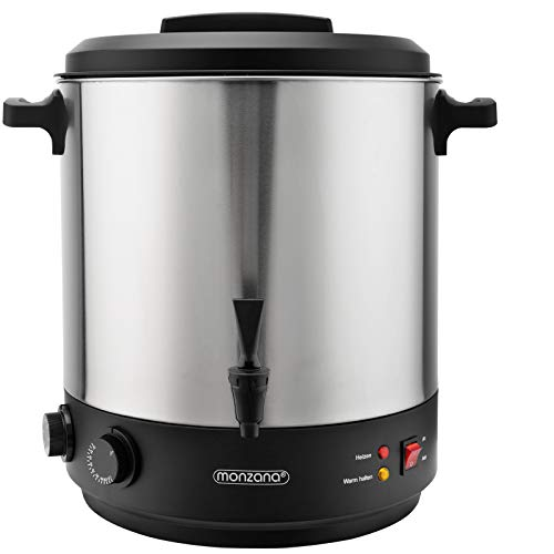 Monzana Einkochautomat 28L Stufenlosem Temperaturregler 30-100 Grad Timer Zapfhahn für 14 Gläser Glühweinkocher Einkochtopf 1800W