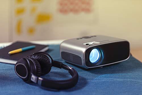 Philips Projection NeoPix Easy (NPX440), transportabler Mini-Projektor, 1080p, 2.600 LED-Lumen, 80 Zoll Projektionsfläche, integrierter Mediaplayer, HDMI, USB, microSD, 3,5-mm-Audioausgangsbuchse für Kopfhörer