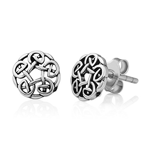 925 Oxidized Sterling Silver Tiny Round Celtic Knot Open Post Stud Earrings 7 mm, Unisex Jewelry