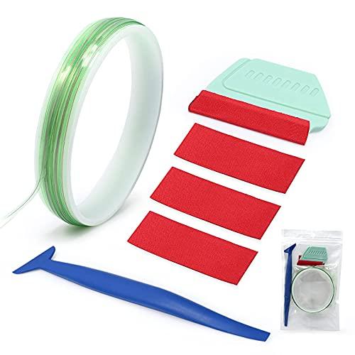 FOSHiOナイフテープフィニッシュライン切削紙用ビニールラップツールトリムカーラッピングデザインラインオートグラフィックデカール16FT(5M)ビニールラップキットミニスキージ、3個の交換用フェルト付き