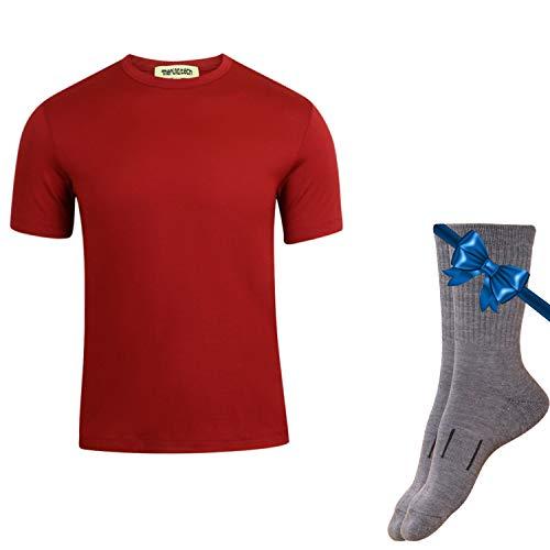Merino.tech 100% NZ Organic Merino Wool Lightweight Men's T-Shirt + Merino Wool Hiking Socks Bundle | Short Sleeve Crew Tee | Moisture Wicking | No Odor | UPF 25 (Medium, Red)
