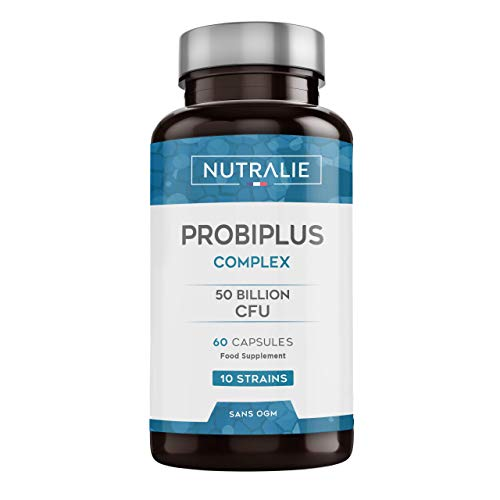 Probiotic 50 Billion CFU's Guaranteed per Dose | 10 Effective and Natural strains for Defenses and Intestinal Flora | 60 Gastroresistant Capsules for a Better Absorption Nutralie