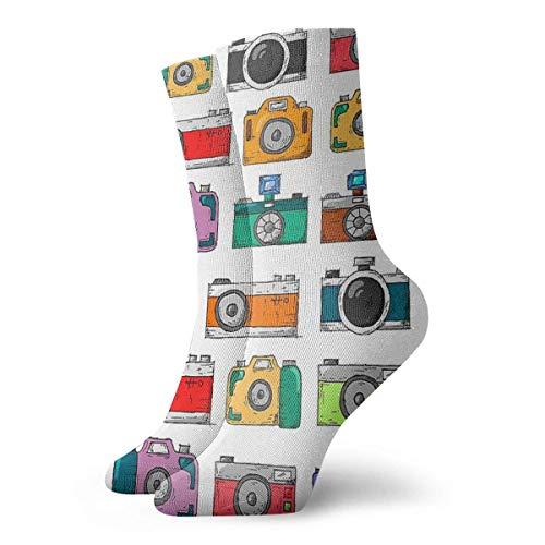 LAVYINGY Calcetines de cámara retro clásicos de ocio deporte calcetines cortos 30cm/11.8inch adecuado para hombres mujeres