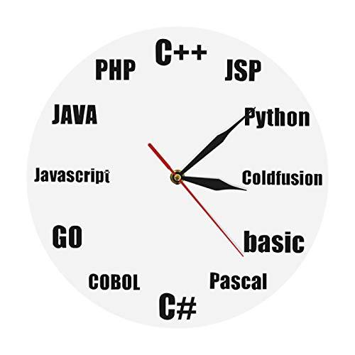 yage Programa Idioma Diseño Minimalista Reloj de Pared Business It Office Decoración de Pared Programa Nerd Reloj de Pared de Cuarzo Regalos para él Geeks