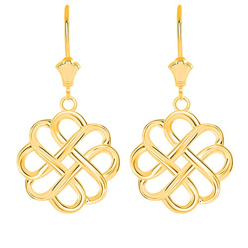 Certified 10k Yellow Gold Endless Love Good Luck Irish Celtic Knot Dangle Earrings